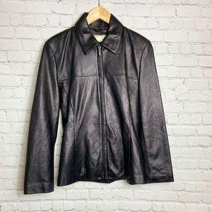 Convertible Collar Leather Jacket- Medium